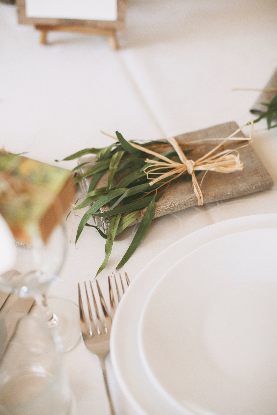 Details of a rustic wedding table